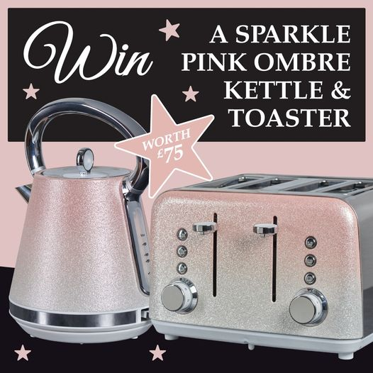 Win a Sparkle Pink Ombre Kettle and Toaster