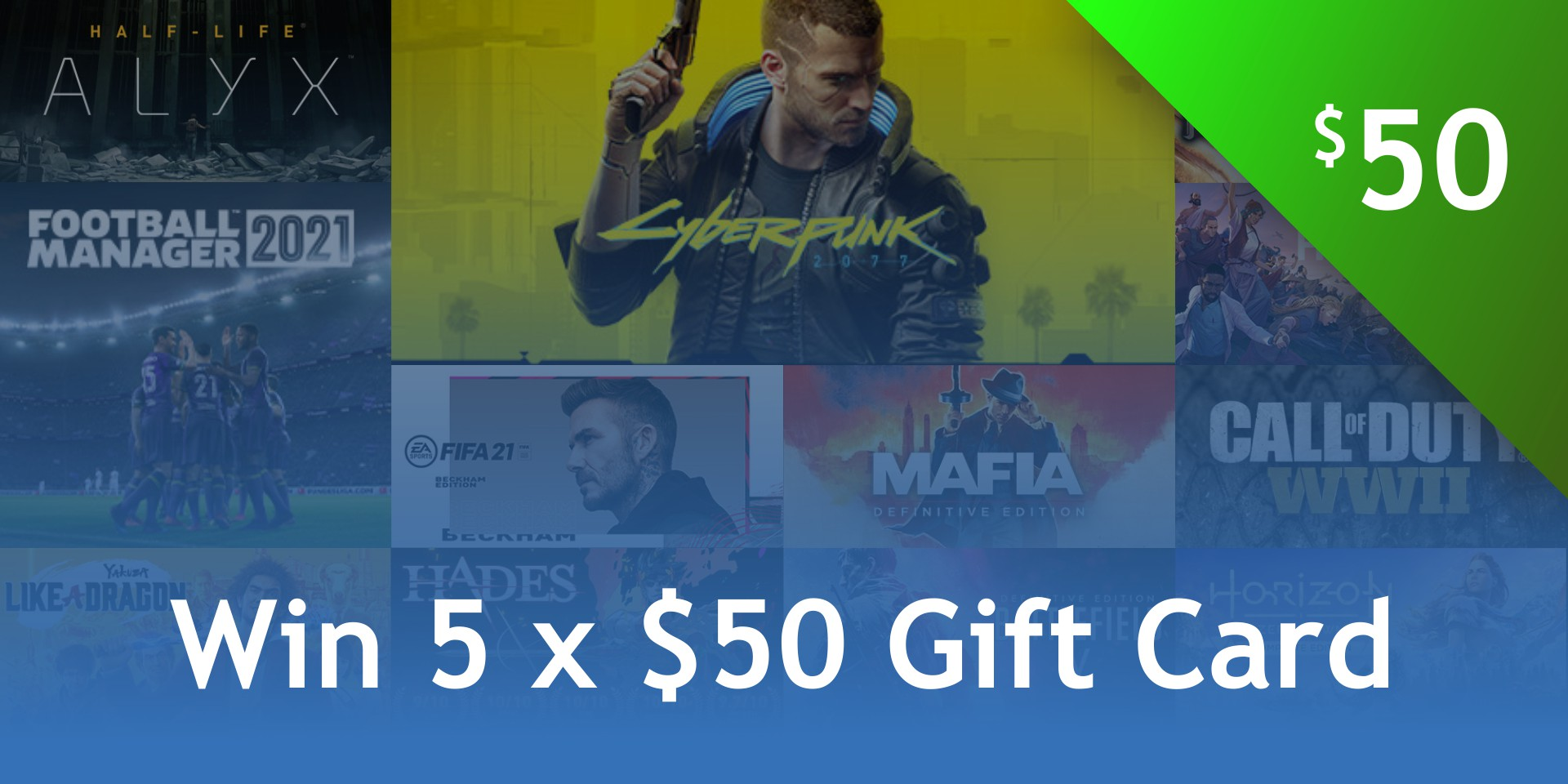 Win 5 x Steam $50 Gift Cards