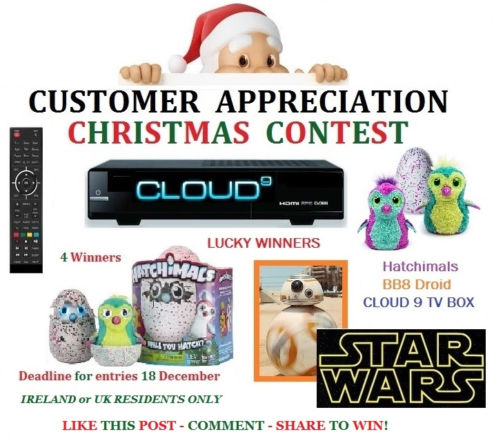 Win Hatchimals, StarWars BB8 Droids, or Cloud9 Entertainment System