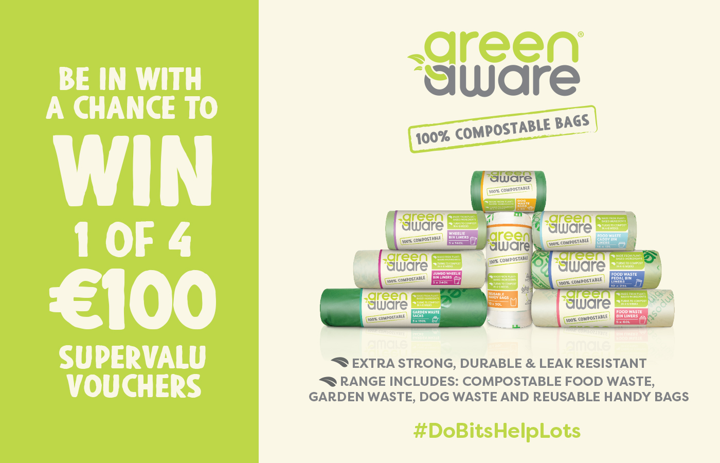 Win 1 of 4 €100 Supervalu Vouchers with GreenAware