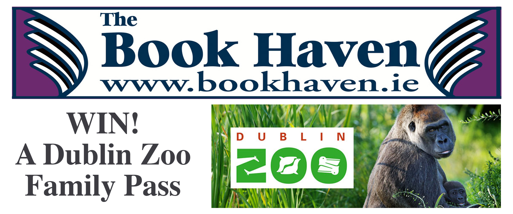 Win a Family annual pass to Dublin Zoo with the Book Haven