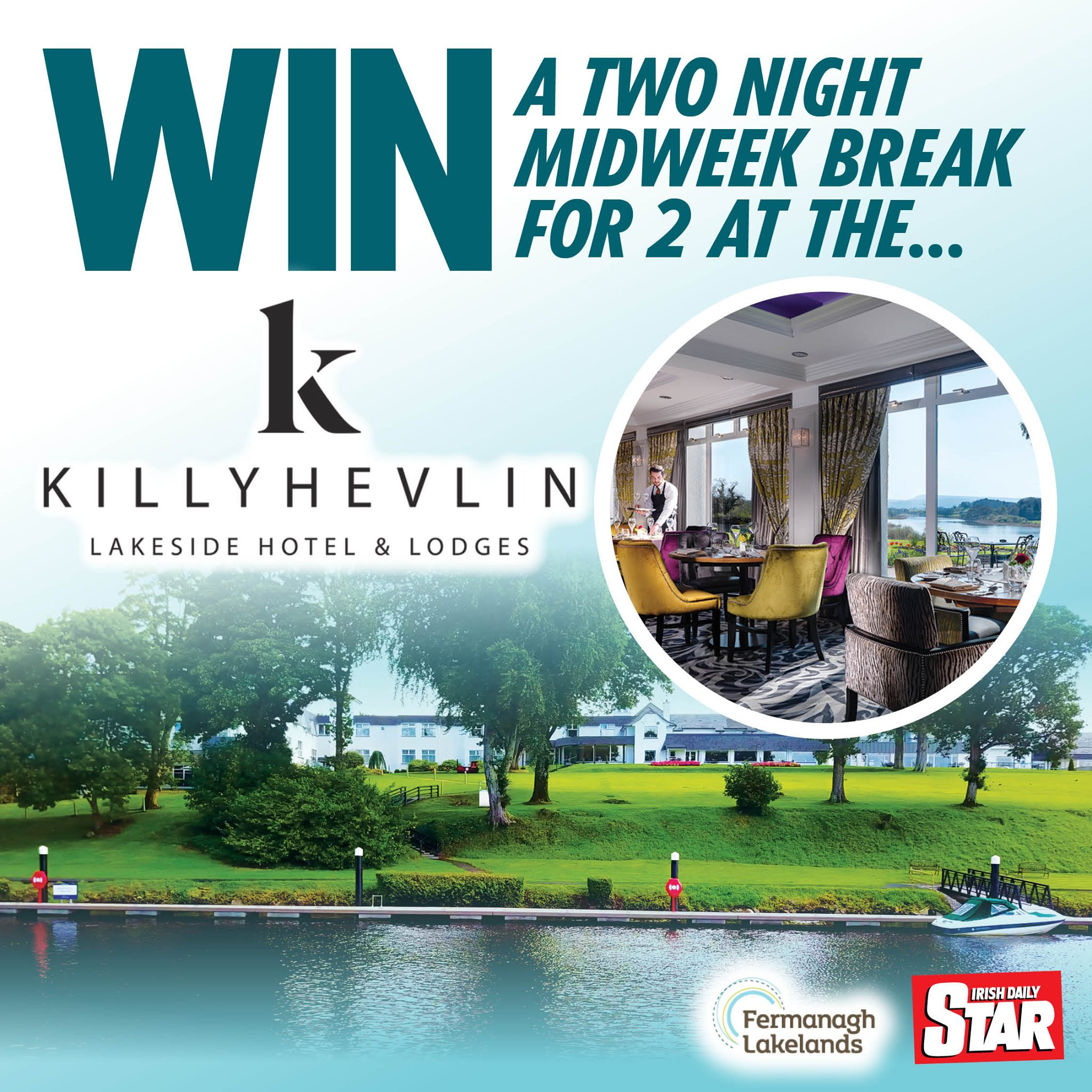 Win a wonderful break to Killyhevlin Lakeside Hotel and Lodges