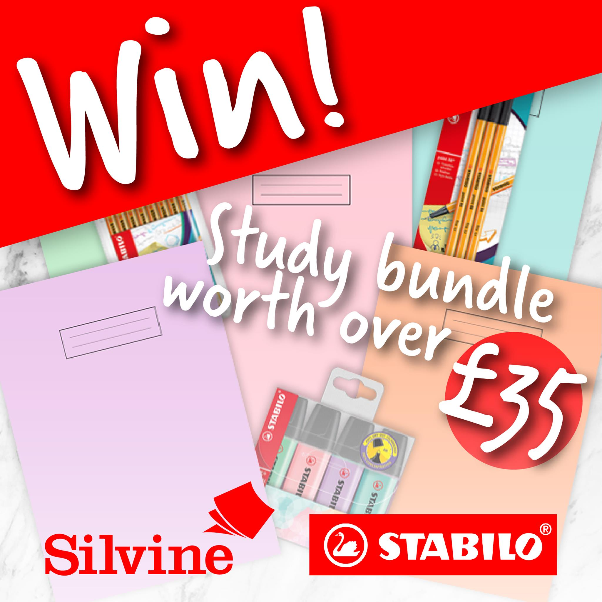 Win Silvine and Stabilo Study Bundle for you and four of your friends