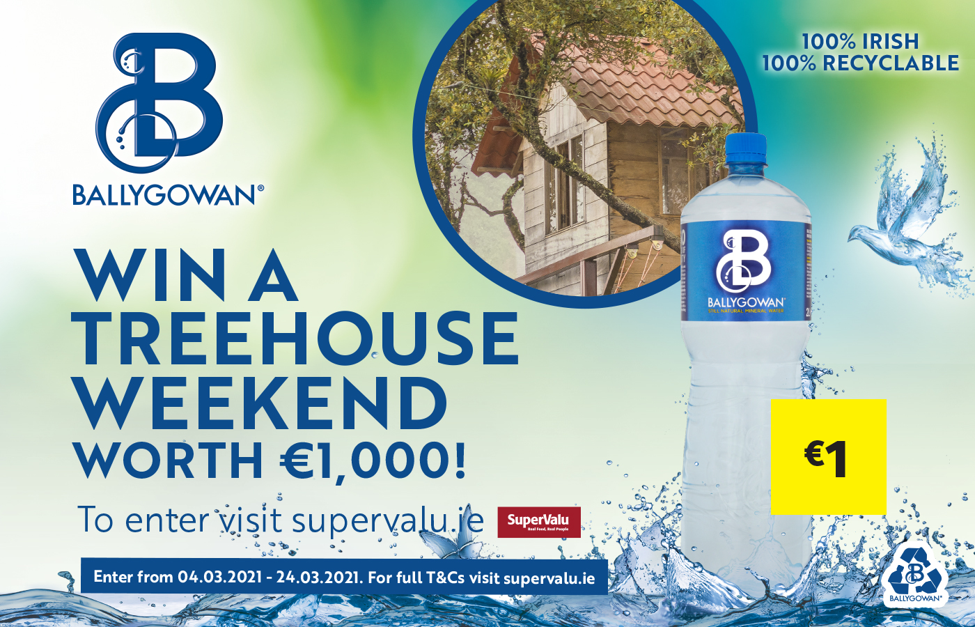 Win a Treehouse Weekend worth €1,000 with Ballygowan